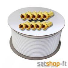 50m Koaxial kabel 135dB Antennenkabel F Stecker SAT Antennen Kabel DIGITAL HD TV