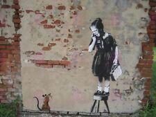 PHOTOGRAPH GRAFFITI STREET BANKSY RATGIRL RAT STOOL SCARED POSTER ART LV10969