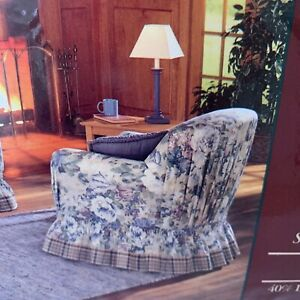 """Chair Slipcover Floral 100"""" X 90 Cotton Polyester New old stock"""