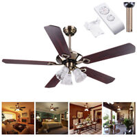 "52"" Ceiling Fan with Light 5 Blades Antique Bronze Reversible Remote Control Kit"