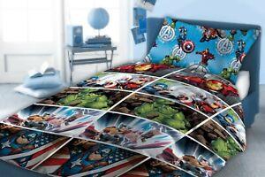 Marvel Avengers Single Duvet Cover Bedding Set Comics Super Hero's Blue