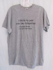 Used Men Graphic T Shirt Divide My Year Football Season Depression Sz M Gray