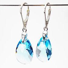 Damen Ohrringe 925 Sterling Silber Swarovski Kristalle 22 mm Hänger Blau