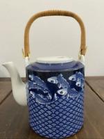 Vintage Neiman-Marcus Japan Teapot Blue Koi Fish Pattern Porcelain Handpainted