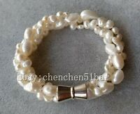 5-7mm & 8-9mm Weiß barocke Süßwasserperle twist Armband 8-Zoll-Magnetverschluss