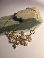 Pretty Sweet Chunky Gold Tone Sea Shell Starfish Pearl Bib Statement Necklace