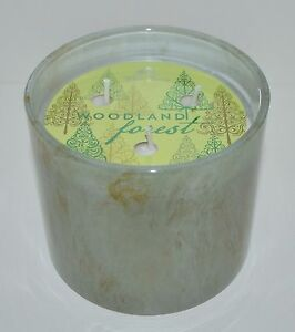 BATH & BODY WORKS WOODLAND FOREST MARBLE SCENTED CANDLE 3 WICK LARGE WHITE BARN