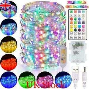 RGB LED String Light Copper Wire Micro Rice Wedding Xmas Waterproof Garden Decor