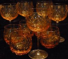 Amber.Cut.Crystal.Wine.Balloon.Goblets.NEW.Clear.Stem.Highball.Set 10 Glasses