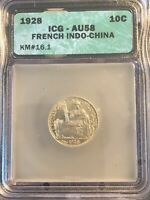 1928 10 Cents Silver French Indo China KM #16.1 ICG AU58 Coin