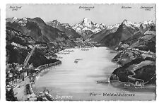 Brunnen & Lake Lucerne Stylised Map PPC 1939 PMK & Exhibition Stamp - Eastbourne