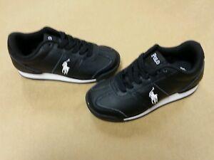 Polo Ralph Lauren Toddler Shoes Black Leather Slider Pony Sneaker  Size 4-7