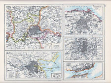 1912 MAP ~ ENVIRONS LONDON EDINBURGH MADRID DUBLIN & LISBON