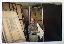Vintage 90s PHOTO Waiter Folding Napkin Before Dinner Service At Nightclub Bar