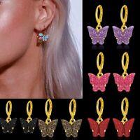 Shining Butterfly Acrylic Earrings Drop Dangle Ear Hoop Women Jewelry Fashion