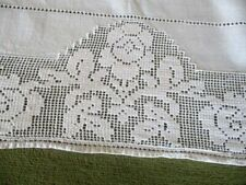 VINTAGE TABLECLOTH HAND EMBROIDERED with FLOWERS & BIRDS ~ LINEN