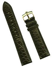 Véritable Bracelet Alligator Cuir Noir Doublé 19mm & Véritable Rolex Boucle Doré