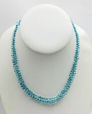 Lady's One Strand of Faceted Briolette Cut Blue Zircon Necklace Necklace