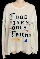 Wildfox Sweater Ivory Food Is My Only Friend Long Sleeve Size XS