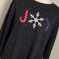 CJ Banks Grey Christmas Holiday JOY Sweater, Size 1X