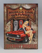 Imagen reclamo Letrero de metal Pin-Up Girl rojo Cadillac Nostalgia Vintage