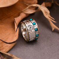 Turquoise Stone Ring 925 Sterling Silver Statement Handmade Ring Jewelry 110