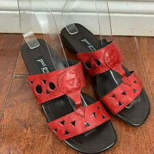 0562a175db6d1 PAUL GREEN RED Leather 2 Strap Slides Sandals Size Austria 3 US 5.5