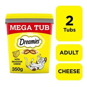 2 x 350g Dreamies Adult Cat Treats Tubs with Cheese Cat Biscuits (700g)