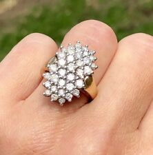 """Diamond Explosion"" 14K Yellow White 2-Tone Gold Vintage Oval Dome Cocktail Ring"