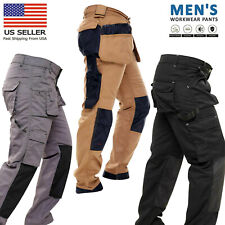 Mens Work Trousers Multi Pocket Cordura Knee Reinforcement WorkWear Utility Pant