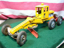 Vintage Hubley Steerable Yellow Diesel Road Grader W Red Blade Scraper USA Made!