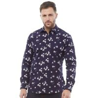 French Connection Mens Formal Printed Cut Shirt Marine Floral Blue. Large.