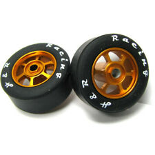 H&R Racing HR1360 6 Spoke 12mm Gold Wheel w/ Silicone Tire (2) 1:24 Slot Car