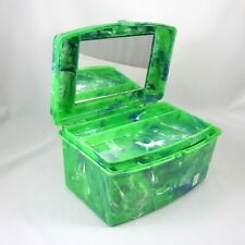 Caboodles Green Marbleized Vintage 1980s Cosmetic Make-Up Organizer Plastic Case