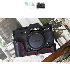 Ciesta Leather Half Case Fuji XT10 Black Red Stitching