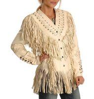 Native American Western Women's Cow Leather Jacket Fringes bones studs LJ04