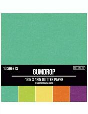 """Gumdrop 30 piece Crafting Assorted Color Glitter Paper Pad 12"""" x 12"""" lot of 3"""
