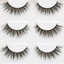 Black 3 Pair 3D Natural Bushy Cross False Eyelashes Hair Eye Lashes