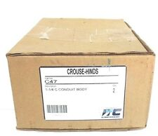 BOX OF 2 NEW COOPER CROUSE-HINDS C47 CONDUIT BODIES FORM C, 1-1/4""