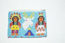 Vintage Native American Indian Beaded Coin Purse Chief Squaw Leather Turquoise