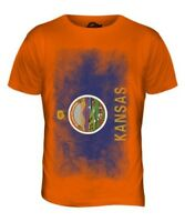 Kansas Bandera Difuminada Parte Superior el Hombre Camiseta Tee Regalo