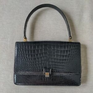 Vintage Lederer France New York Black Alligator Leather Handbag Evening Bag