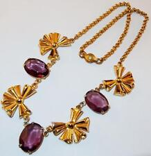 VINTAGE SIGNED CORO GOLDTONE ROLO CHAIN BOW LINKS AMETHYST GLASS STONES NECKLACE