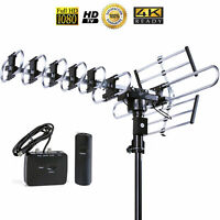 4K HDTV Outdoor TV Antenna 200 Miles 360 Degree UHF/VHF/FM Remote Control