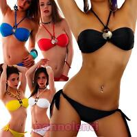 Bikini donna costume da bagno mare fascia gioiello due pezzi nuovo B1301