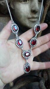 Artisan Garnet & Silver 925 Vintage Style Necklace