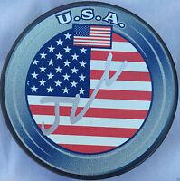 JOHNNY HOCKEY GAUDREAU SIGNED TEAM USA PUCK CALGARY FLAMES AUTOGRAPHED PROOF K1
