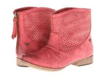 ROXY New Women's US 6 Red Vallerie Faux Leather Perforated Ankle Boots Booties