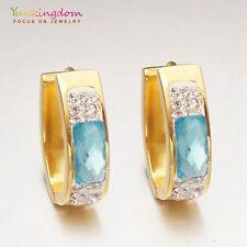 Ocean Blue Clear Cubic Zircon Gold Plated Lady Fashion Ear Jewelry Hoop Earrings