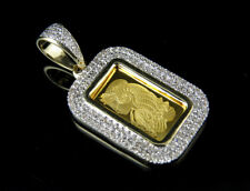 24K Yellow Gold 1G Lady Fortuna Suisse Pamp Bar Diamond Pendant Charm .42ct 1.2""